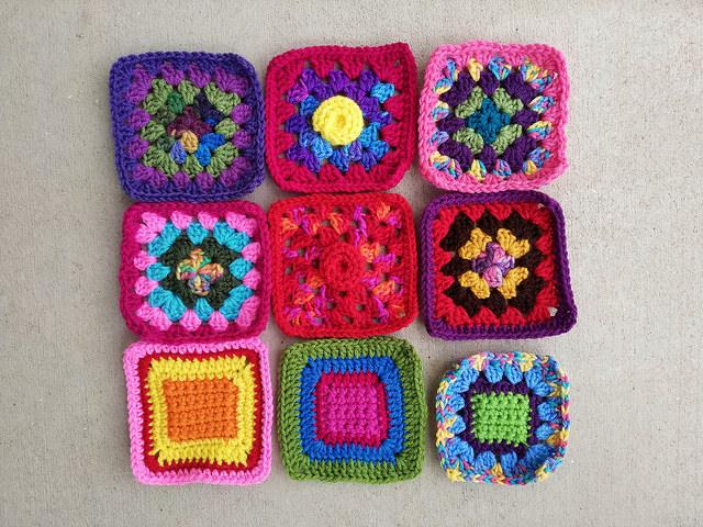 Nine crochet squares nearly all rehabbed