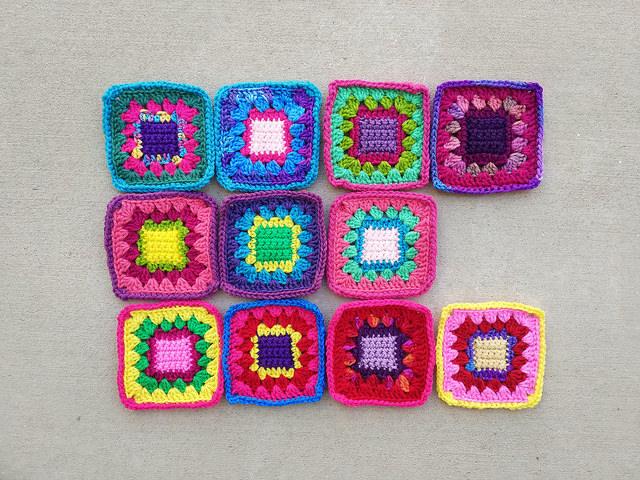 Eleven more five-inch crochet squares