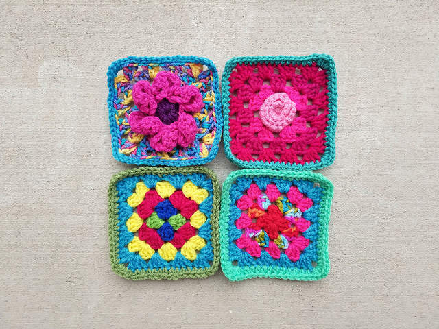Four crochet remnants transformed into five-inch crochet squares