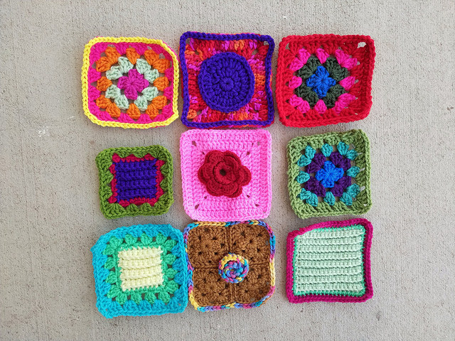 Nine crochet remnants after the second stage of crochet rehab