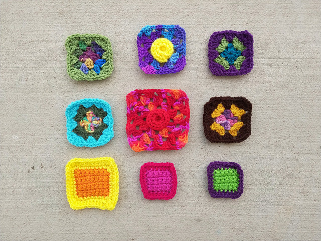 nine crochet remnants another round closer to becoming nine five inch crochet squares