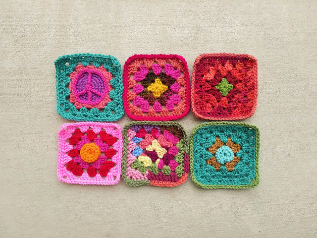 Six crochet squares for Project Amigo