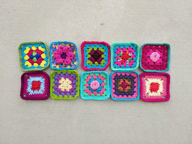 Ten new five-inch crochet squares on the road to one thousand