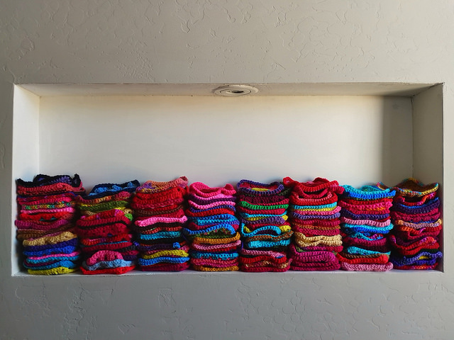 The nook in the wall with 13 more crochet squares
