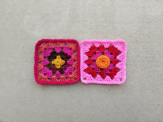 Two crochet remnants rehabbed into two crochet squares