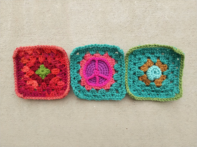 three crochet remnants rehabbed into crochet squares