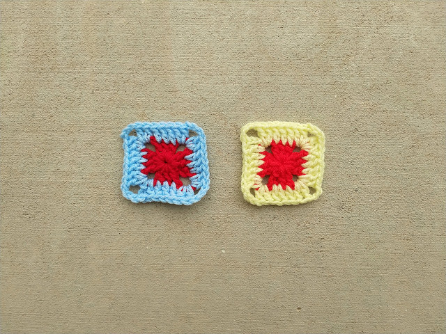 Two two-round granny squares in need of crochet rehab