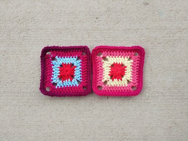 two five-inch crochet squares ready for adventure