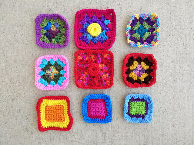 Two rounds into a nine patch crochet square rehab
