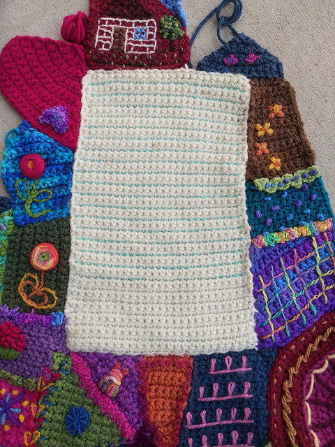 One of the large pieces of the crochet crazy quilt pattern