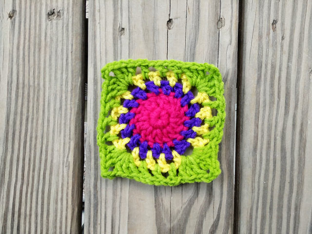 Rounds one through five of variation on crochet square c-2