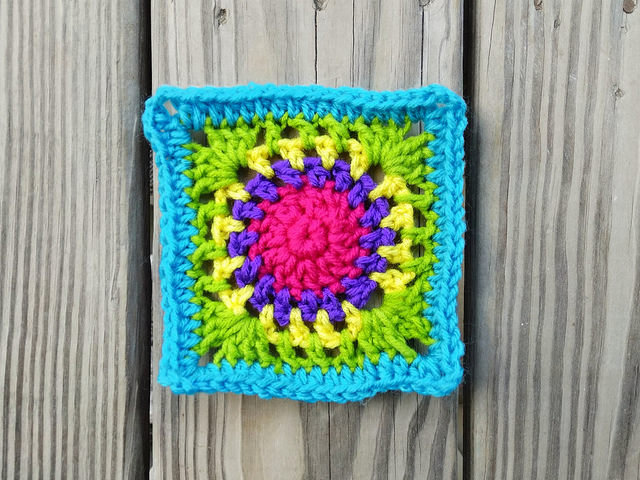 Rounds one through six of variation on crochet square c-2