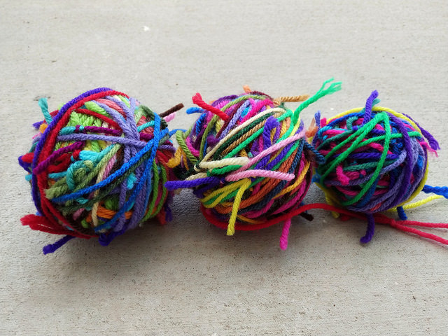 Some yarn scraps for the ripple scrap yarn afghan