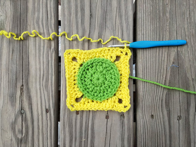 Squaring off a DOTS crochet circle
