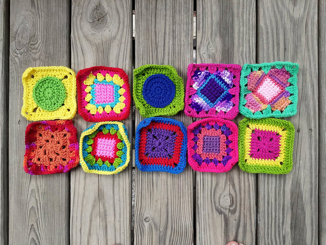 Ten crochet remnants transformed into five-inch crochet squares