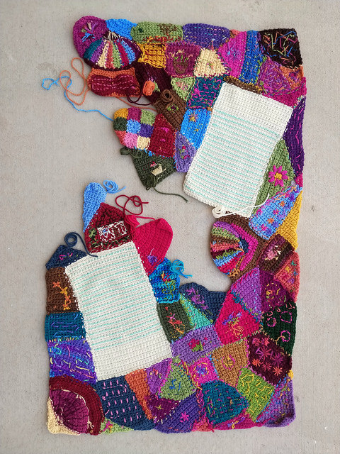 The back of the crazy quilt crochet panel tidied up a bit