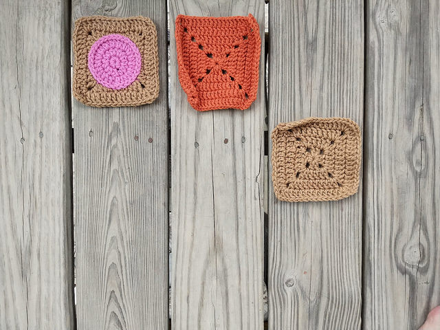 Three of the nine crochet remnants as five-inch squares ready for adventure