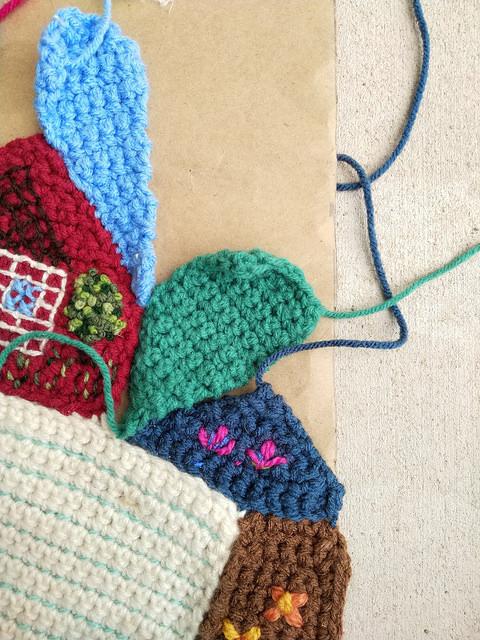 A crochet crazy quilt piece that fits much better