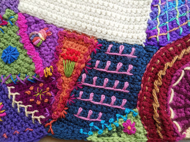 The same patch or crochet crazy quilt piece with a bit more tricking out