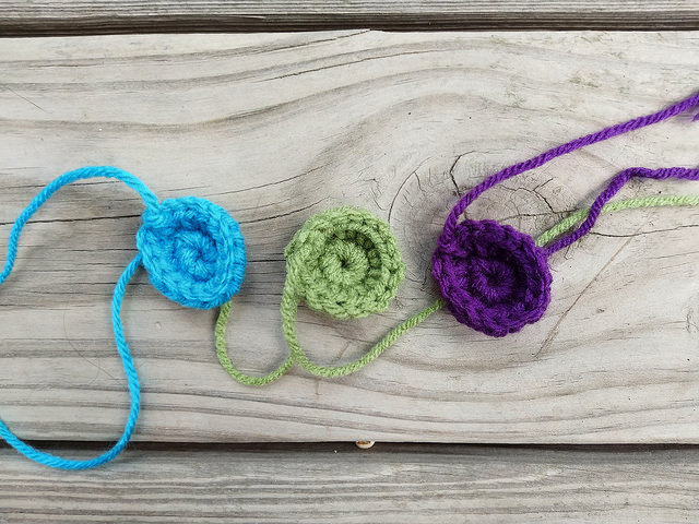 Three crochet circles I made for a future crochet purse when a streak of nice weather ended