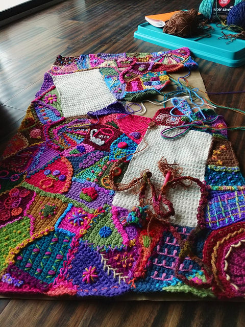Crunch time for the crazy quilt crochet panel