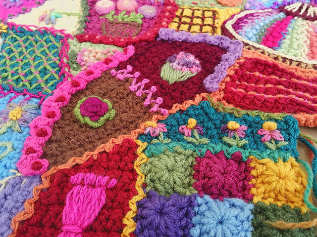 A detail of the crochet crazy quilt surface decoration