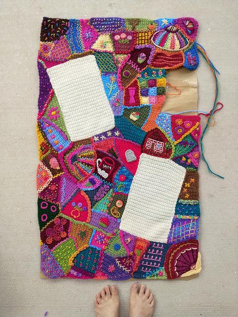 An overview of my progress on the crochet crazy quilt panel