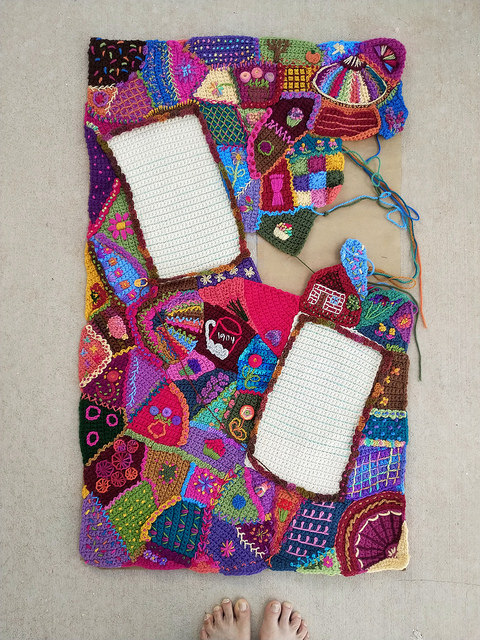 An overview of the crochet crazy quilt panel as of September 20, 2018