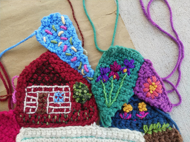Crochet crazy quilt pieces ready for seaming