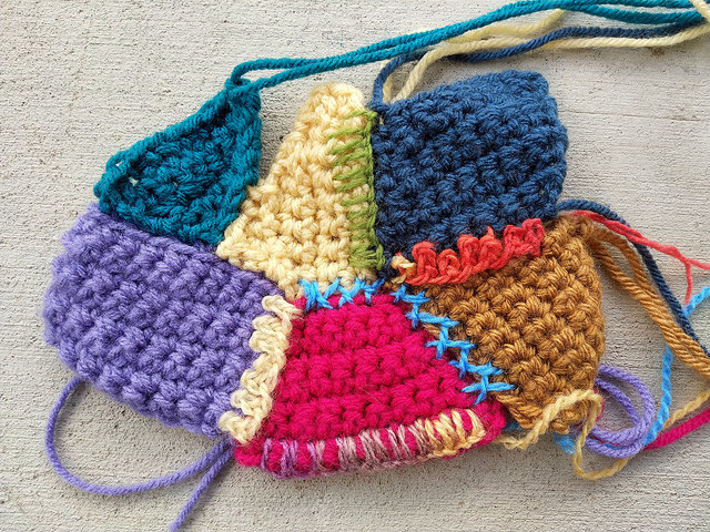Some crochet crazy quilt pieces to salvage