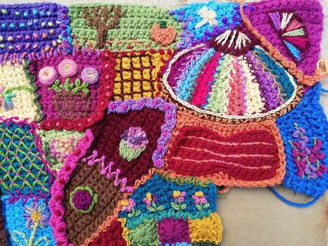 The tricking out continues in the upper right hand corner of the crochet crazy quilt panel