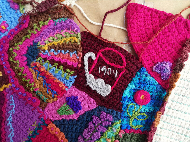 The same space with the crochet crazy quilt pieces seamed