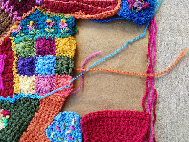 The space left to be filled with crochet crazy quilt pieces