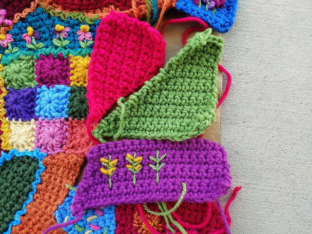 The three final crazy quilt crochet pieces for the center panel