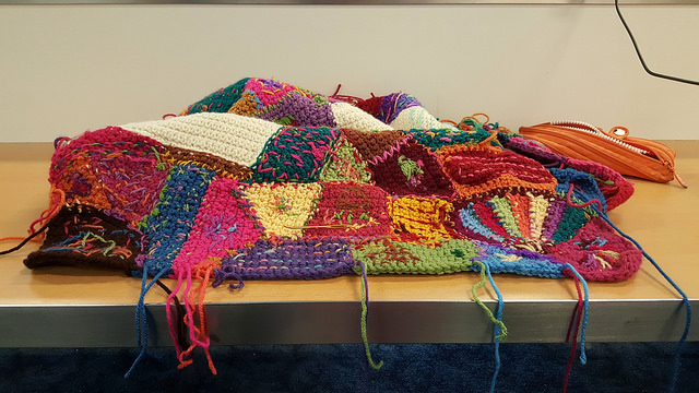 "My ""have travel"" crochet of weaving in ends at Dallas:Fort Worth International Airport"