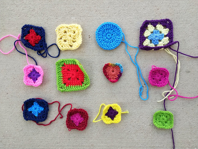 A dozen new crochet remnants ready for rehab