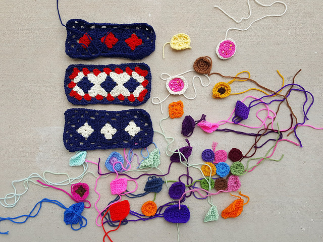 An assortment of crochet remnants from my effort to dig deeper
