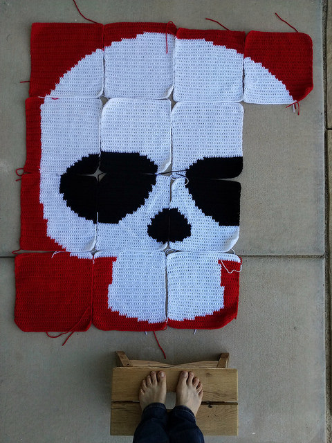 An overview of my progress for a Day of the Dead crochet mural