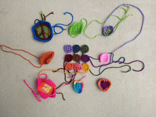 Another nine patch of crochet remnants ready for rehab