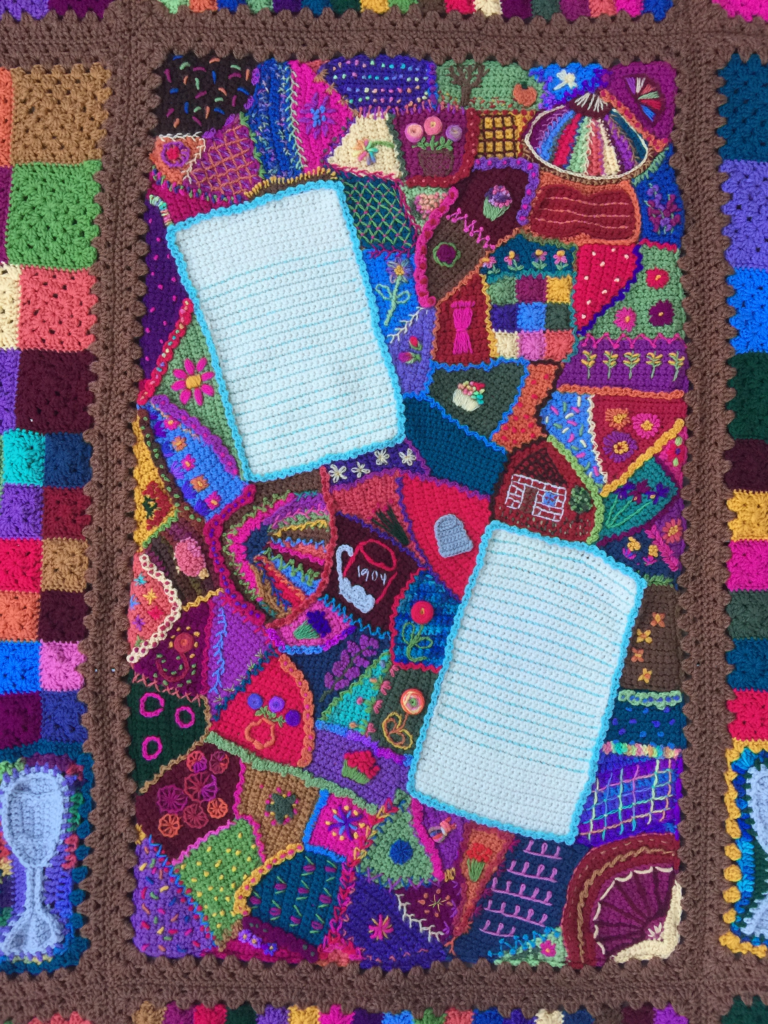 Crochet crazy quilt center panel