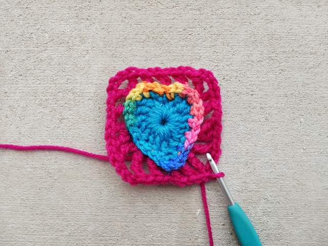 Squaring off a boho crochet heart