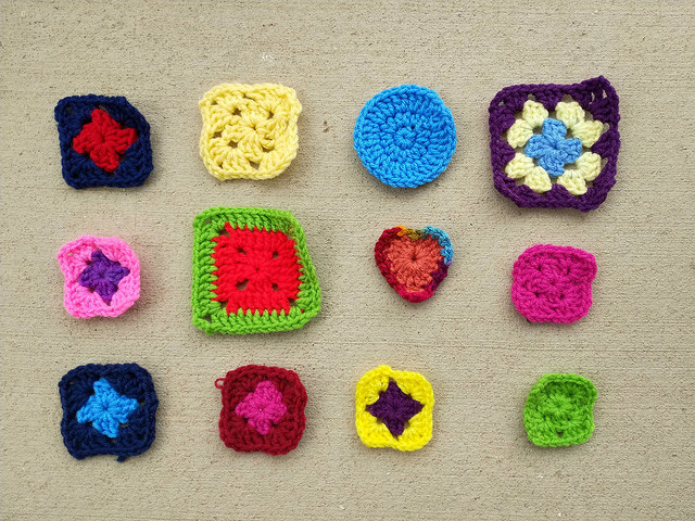 The twelve crochet remnants ready for rehab