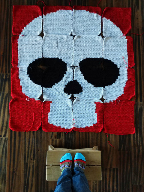 A Day of the Dead crochet skull ready for joining