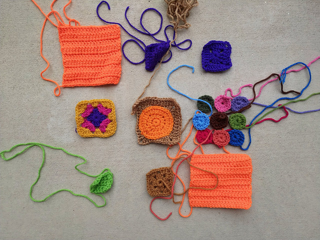 A new nine-patch of crochet remnants