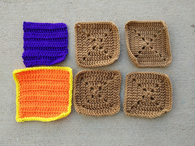 Six hurry-up rehabbed crochet squares
