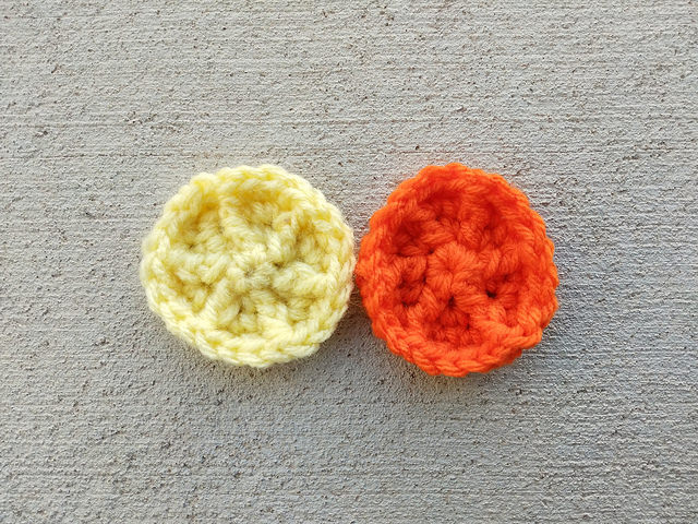 The original crochet cookie with a second crochet cookie where I figured out what I had done