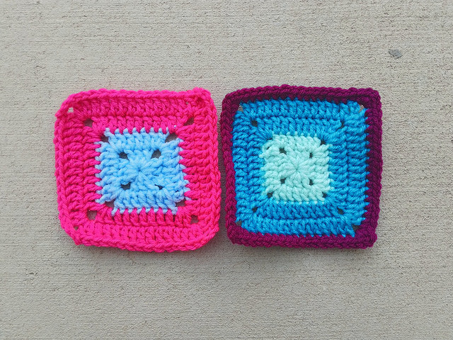 The same crochet remnants rehabbed into five-inch crochet squares in some of the day's so little time