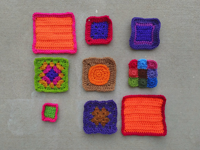 The same nine crochet remnants after the first round of crochet rehab