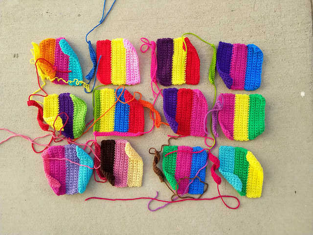 Twelve future six-inch television test pattern crochet squares