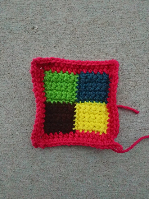 Another five-inch rehabbed crochet square